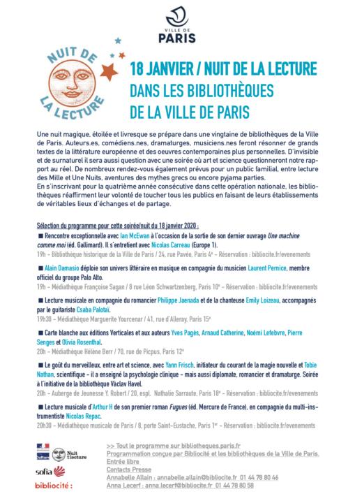 communique de presse Nuit de la lecture dans les bibliothèques de la Ville de Paris