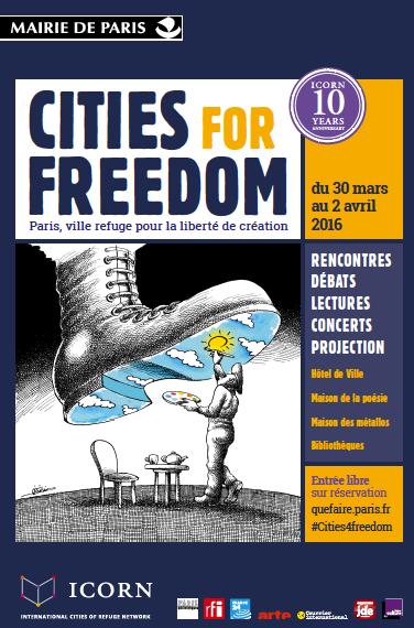 Affiche des 10 ans de l'ICORN. Cities for freedom